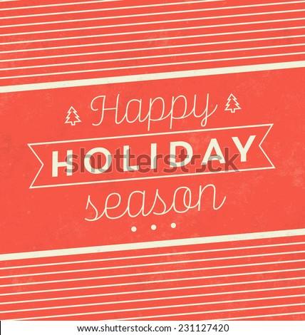 Vintage Christmas Typographic Background / Retro Design / Happy Holiday Season