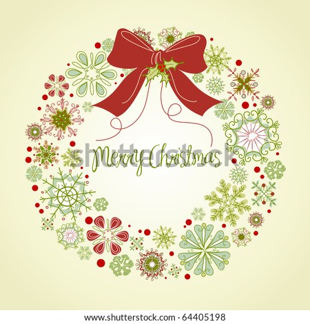 stock vector : Vintage Christmas wreath made from snowflakes
