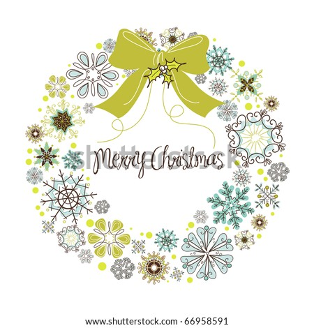 Vintage Christmas wreath made from snowflakes - stock vector