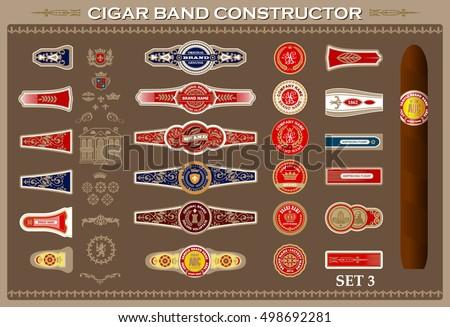vintage cigar band set. design...
