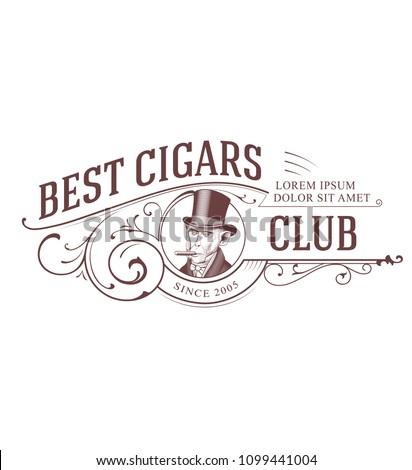 Vintage Cigar Club Logo. Monkey in Top Hat smoking Cigar
