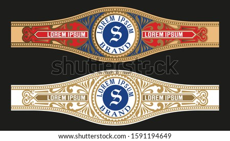 Vintage Cigar Label Template. Vector with emboss and gold layers ストックフォト ©