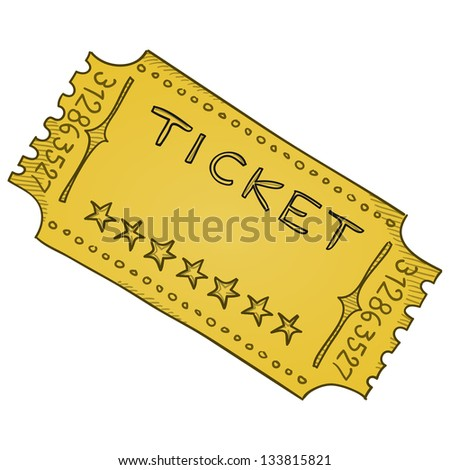Vintage Cinema Ticket - Vector template of paper admission ticket in beige colors