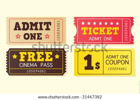 Vintage cinema tickets. On movie or to Theatre? Use my tickets! In 4 different variants. Vector Illustration.