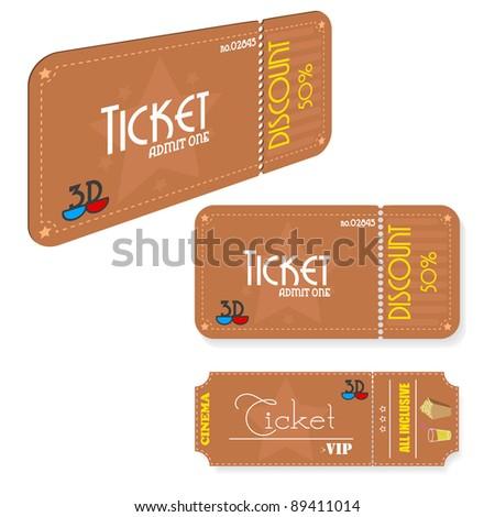 Vintage cinema tickets.Vector.