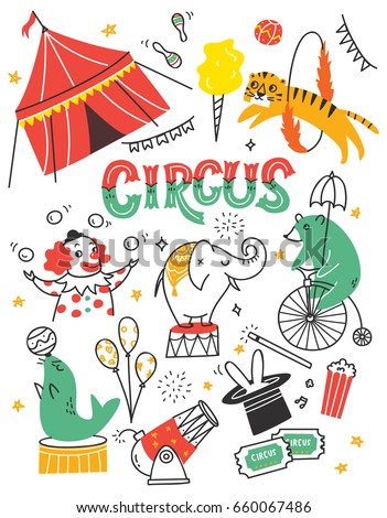Vintage circus doodle with circus tent, animals and clown