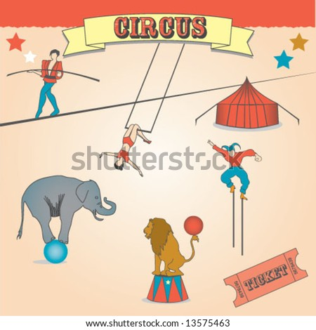 VINTAGE CIRCUS FUN CARNIVAL. Editable vector illustration file.