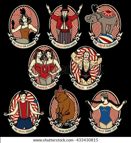 Vintage Circus icons collection. The strong man, The siamese twins, The Entertainer, The  Air Acrobat, The Snake Lady, The Juggler, The Elephant, The  Bear on Bicycle. Vector illustration.