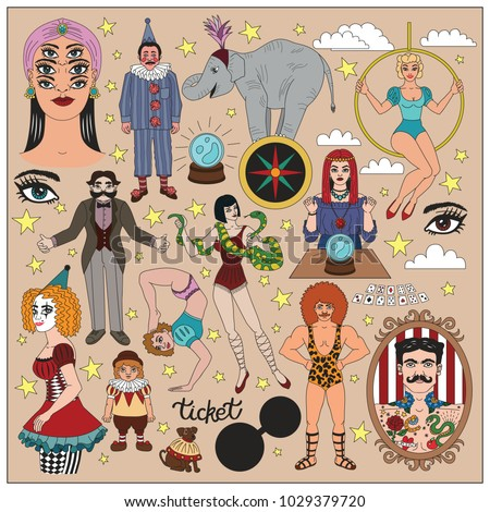 Vintage circus illustrations collection. Flash tattoes set. Lineart illustrations for adult coloring book. Circus perfomers. Strong man, tattooed man, psychic, fortune teller, clown, entertainer