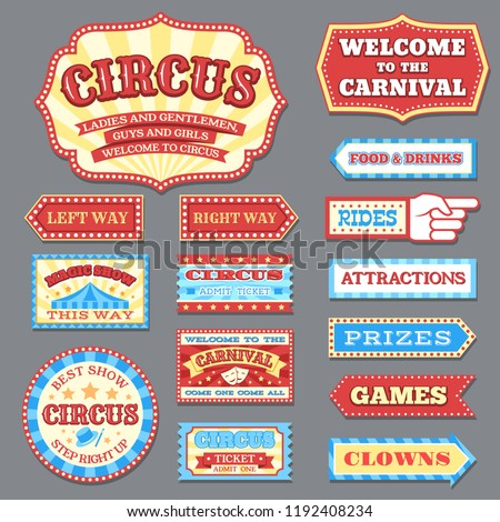 Vintage circus labels and carnival signboards vector collection. Illustration of circus label, show banner entertainment