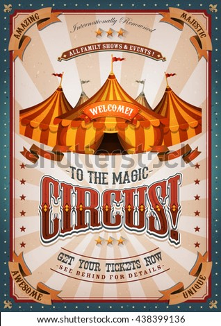 vintage circus poster with big...