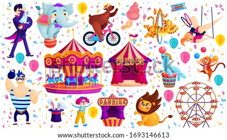 Vintage circus show flat vector stickers set. Trained animals, acrobat, magician. Clown, tamer, strongman. Amusement park illustration collection. Magic and gymnastic tricks. Ferris wheel, carousel