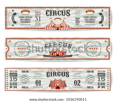 Vintage Circus Website Banners Templates/\ Illustration of a set of retro design circus web header templates, with big top, banners, floral patterns and ornaments on wide sunbeams background