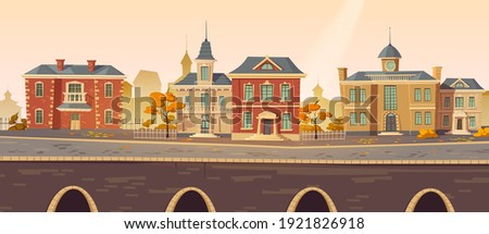 Vintage city autumn street with european colonial victorian buildings and lake promenade. 19th century town with old architecture. Retro style cityscape at river shore, Cartoon vector illustration Foto stock ©