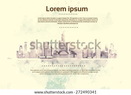 Vintage City Skyscraper View Cityscape Background Skyline with Copy Space Retro Style Design Card Vector Illustration