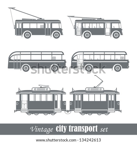 vintage city transport vehicles ...