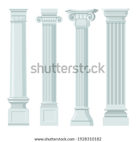 Vintage classic columns flat set for web design. Cartoon pillars with ornament in renaissance or roman style for facade isolated vector illustrations. Furniture, building and interior concept Сток-фото ©