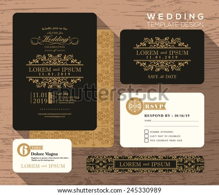 vintage classic wedding invitation set design template vector place card response card save the. Black Bedroom Furniture Sets. Home Design Ideas