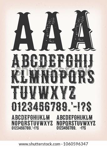 Vintage Classic Western And Tattoo ABC Font/ Illustration of a set of retro western design abc typefont, in regular, grunge and shadow version, also working for tattoo, on vintage background