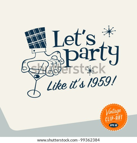 Vintage Clip Art Let's Party Vector EPS10