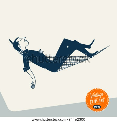 Vintage Clip Art - Man relaxing in Hammock - Vector EPS10.