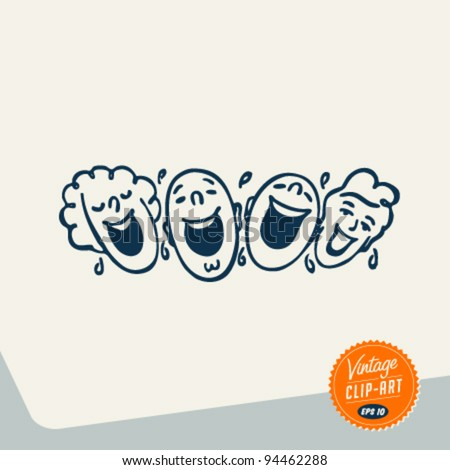Vintage Clip Art - People laughing out loud - Vector EPS10.