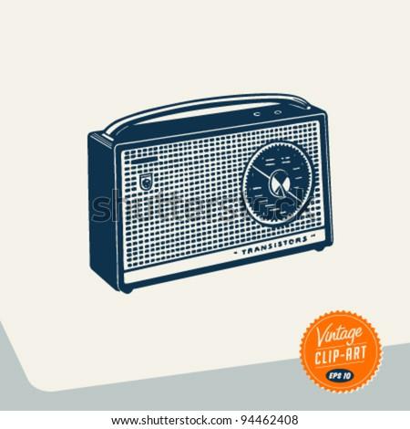 Vintage Clip Art - Radio - Vector EPS10.