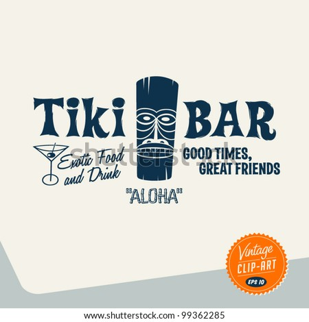 Vintage Clip Art - Tiki Bar - Vector EPS10.