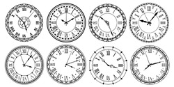Vintage clock face. Retro clocks watchface with roman numerals, ornate watch and antic watches design. Antique elegant hour time clock. Isolated vector illustration icons set