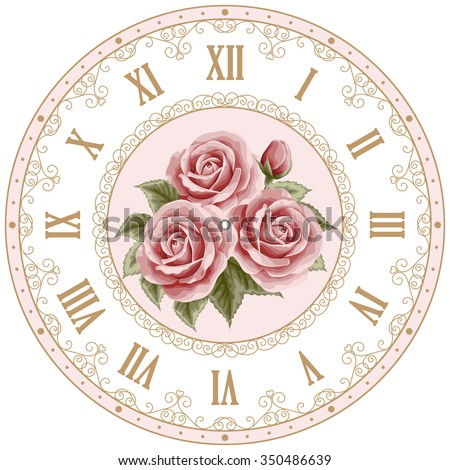 Vintage clock face with hand drawn colorful roses and curly design elements. Shabby chic vector illustration