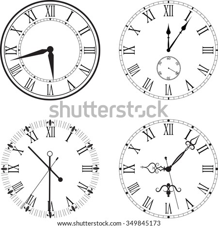 Vintage clock face with Roman numerals