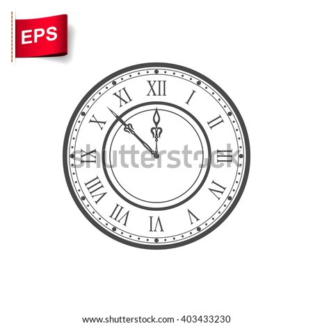 vintage clock icon, vector time sign, isolated watch icon