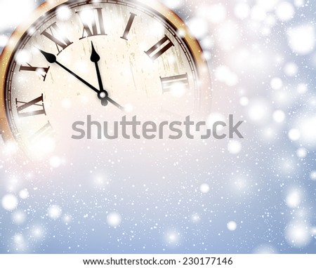 vintage clock over snowfall