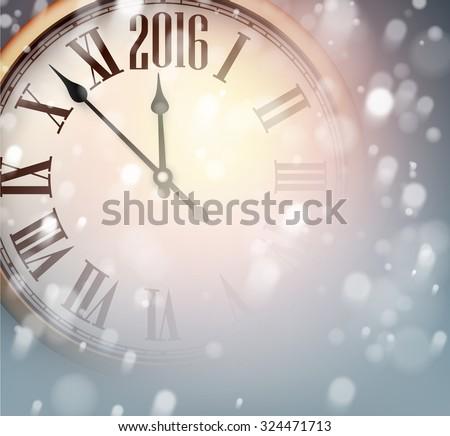 vintage clock over snowfall