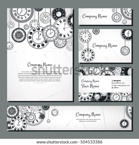 Vintage clock vector banner background set. Retro antique backdrop for business. Classic watch dial cover illustration. Elegant invitation, postcard, paper design. Traditional card. Victorian style