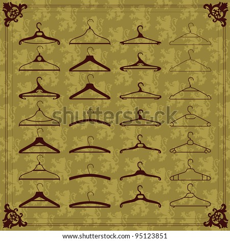 Vintage clothes hangers silhouettes illustration collection background vector - stock vector