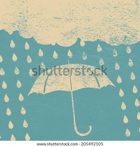 vintage clouds with umbrella...