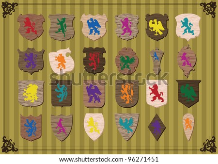 Vintage coat of arms detailed wooden texture shields collection background  illustration vector