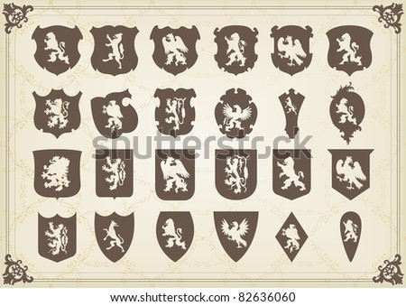 Vintage coat of arms shields collection illustration - stock vector
