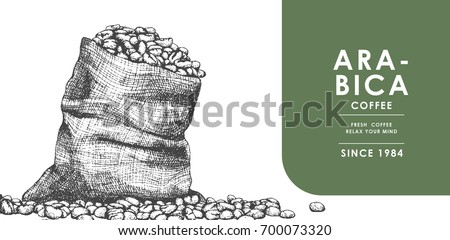 Vintage Coffee bean and Sackcloth for Banner and Advertising by Cross hatching , Contour hatching Pen ink sketch drawing  technique.Use by Tecnicial pen.Vector and illustration.