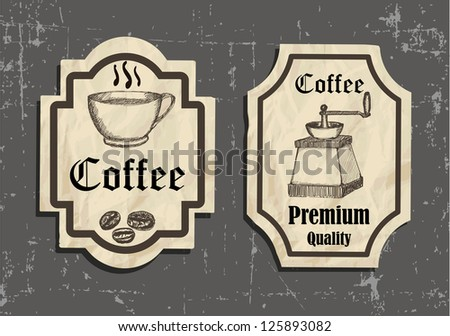 vintage coffee labels on old paper
