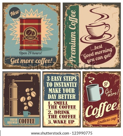 Vintage coffee posters and retro coffee metal signs. Set of coffee vector graphic designs.
