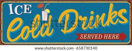vintage cold drinks metal sign