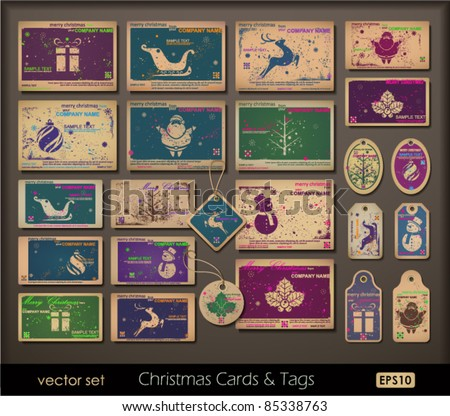 Vintage collection of chipboard Christmas cards. Two colors cards for printing  the old fashioned way, but trendy. Print on blank chipboard textured paper. Vector Illustration. - stock vector