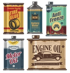 Vintage collection of old motor and engine oil cans, anti freeze, water and tire glue bottles. Retro vector design concept. Car cosmetics and transportation related products.