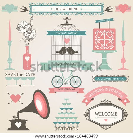 Vintage collection of Vector wedding design elements. Decorative set of holiday objects and signs