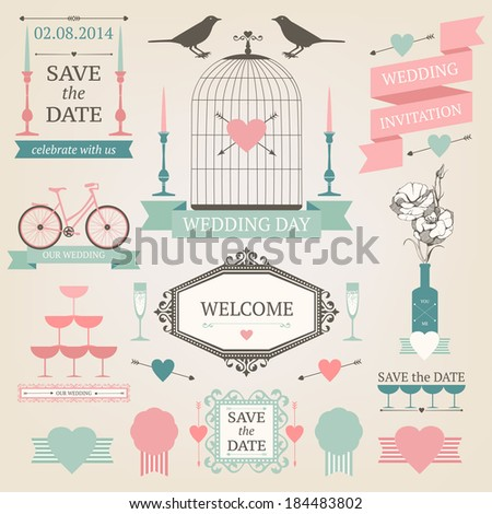 Vintage collection of Vector wedding design elements Decorative set of holiday objects and signs