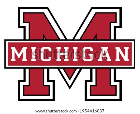 Vintage college varsity font typography michigan text vector print for man woman tee - t shirt and sweatshirt Photo stock ©