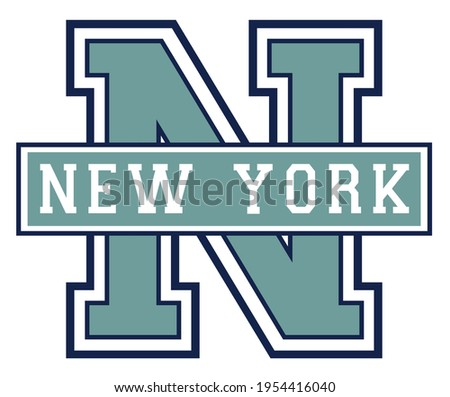Vintage college varsity font typography new york text vector print for man woman tee - t shirt and sweatshirt Photo stock ©