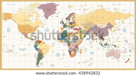 Vintage color political World Map.All elements are separated in editable layers clearly labeled. #438942832